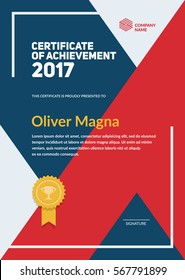 """Certificate of Achievement"" trendy design. Geometric shapes composition. Layered eps10 vector."