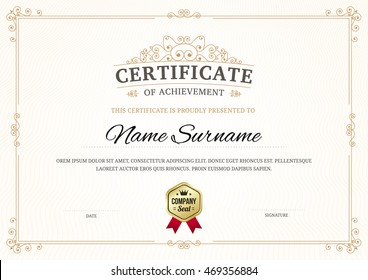 Certificate of achievement vector template background with gold ornament border line.