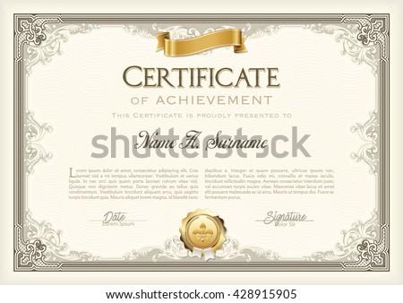 certificate achievement vintage frame gold ribbon stock vector