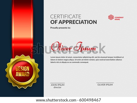certificate of appreciation with 3d badge template cool diploma design layered eps10 vector