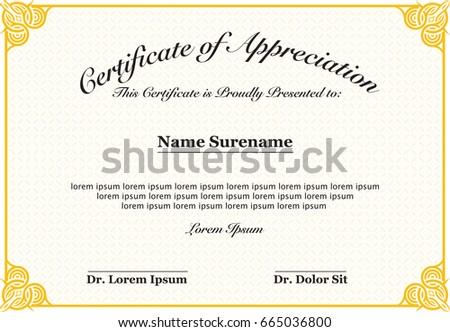 Certificate Appreciation Stock Vector (Royalty Free) 665036800 ...