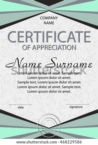 Certificate Of Appreciation Diploma Green And Gray Vertical Template Winning The Competition