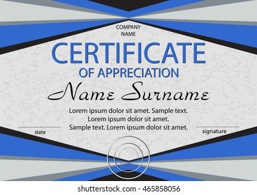 Certificate of appreciation, diploma. Horizontal. Winning the competition. Reward. Award winner. Vector illustration. The text on separate layer.