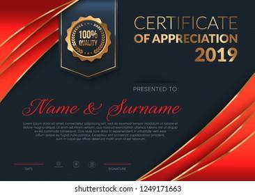 Certificate of Appreciation luxury template. Premium diploma design. Eps10 vector.