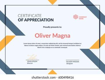 Certificate of Appreciation minimal template.Trendy geometric design. Layered eps10 vector.