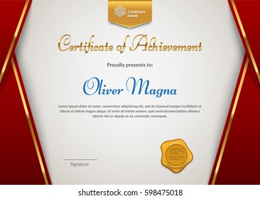 Certificate of Appreciation with seal badge template. Red and gold colors. Premium diploma design. Layered eps10 vector.