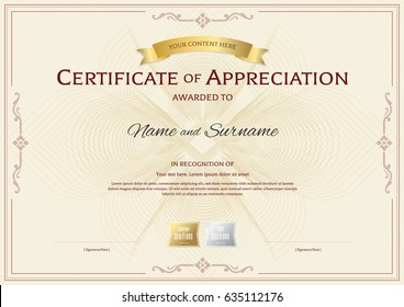 Certificate of appreciation template with award ribbon on abstract flower guilloche background with vintage border style