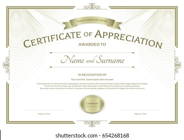 certificate excellence template award ribbon on のベクター画像素材