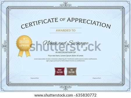 certificate appreciation template award ribbon vintage stock vector