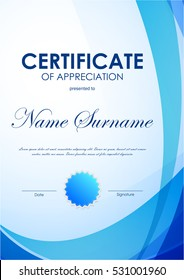 Certificate of appreciation template with blue futuristic light wavy background and seal. Vector illustration