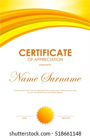 certificate of appreciation template with bright orange wavy background and seal vector illustration