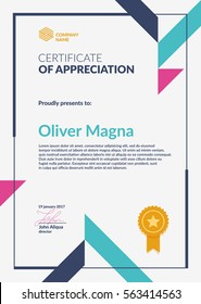 Certificate of Appreciation template. Cool geometric design. Layered eps10 vector.