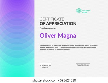 Certificate of Appreciation template. Creative geometric design. Layered eps10 vector.