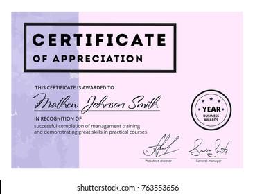 Certificate appreciation template design elegant business stock certificate of appreciation template design elegant business diploma layout for training graduation or course completion yadclub Gallery