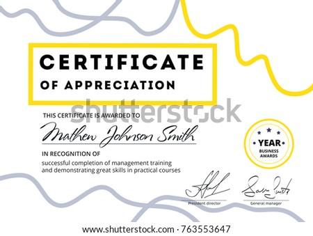 Certificate Appreciation Template Design Elegant Business Stock
