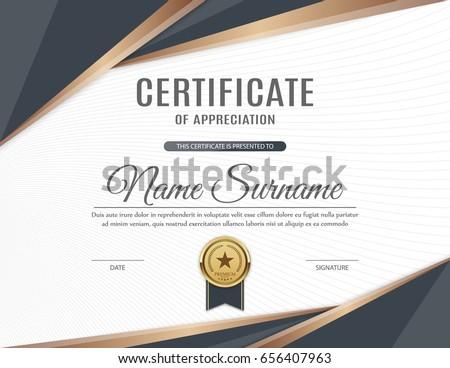 Certificate Appreciation Template Design Vector Illustration Image
