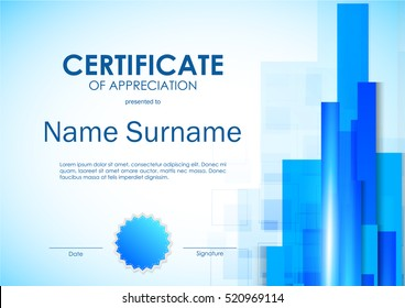 Certificate of appreciation template with digital light blue straight lines background and seal. Vector illustration