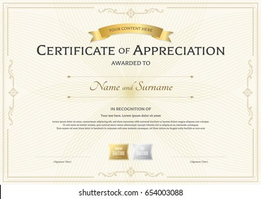 Certificate of appreciation template with gold award ribbon on abstract guilloche background with vintage border style