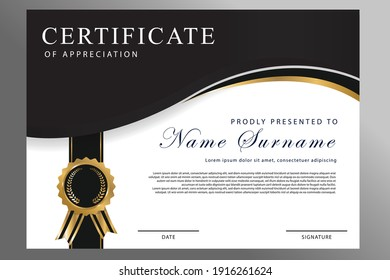 Certificate of appreciation template, gold and Black color. Clean modern certificate with gold badge. Certificate border template with luxury and modern line pattern.