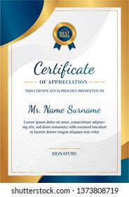 Certificate of appreciation template, gold and blue color. Clean modern certificate with gold badge. Vertical certificate border template with luxury and modern line pattern. Diploma vector template