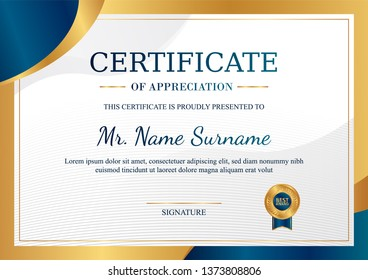 Certificate of appreciation template, gold and blue color. Clean modern certificate with gold badge. Horizontal certificate border template with luxury and modern line pattern. Diploma vector template