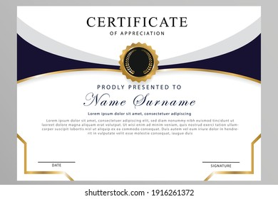 Certificate of appreciation template, gold and blue dark color. Clean modern certificate with gold badge. Certificate border template with luxury and modern line pattern. Diploma vector template