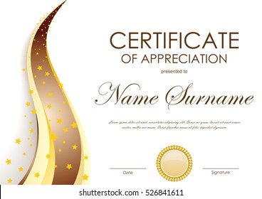Certificate of appreciation template with gold and brown wavy background and seal. Vector illustration