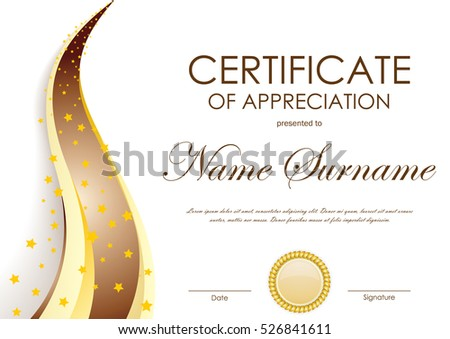 Certificate Appreciation Template Gold Brown Wavy Stock Vector