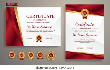 Certificate of appreciation template, gold and red color. Clean modern certificate with gold badge. Certificate border template with luxury and modern line pattern. Diploma vector template