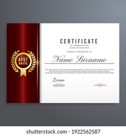 Certificate of appreciation template with gold seal and red color, simple and elegant design