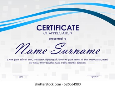 Certificate of appreciation template with gray geometric square pattern and blue dynamic wavy background. Vector illustration