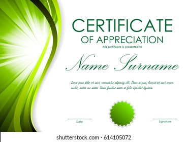 certificate of appreciation template with green dynamic bright wavy vortex background and seal vector illustration