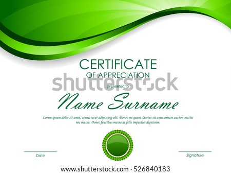 Certificate Appreciation Template Green Dynamic Light Stock Vector