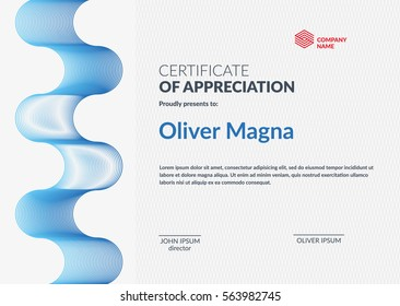 Certificate of Appreciation template. Modern geometric design. Layered eps10 vector.
