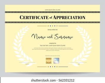 Certificate Of Appreciation Template With Movie Film Stripe Header And Award Laurel Crest