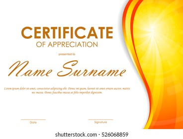 certificate of appreciation template with orange dynamic light wavy vortex background vector illustration