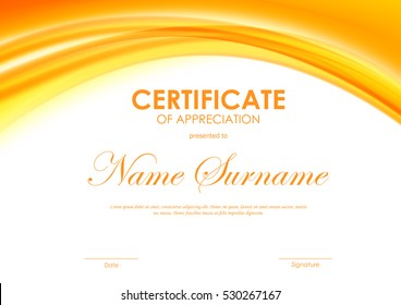 Certificate of appreciation template with orange dynamic bright soft wavy background. Vector illustration