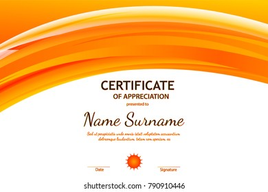 certificate of appreciation template with orange dynamic wavy light background