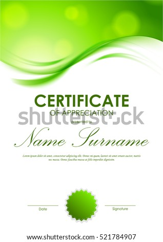 Certificate Appreciation Template Shiny Green Wavy Stock Vector