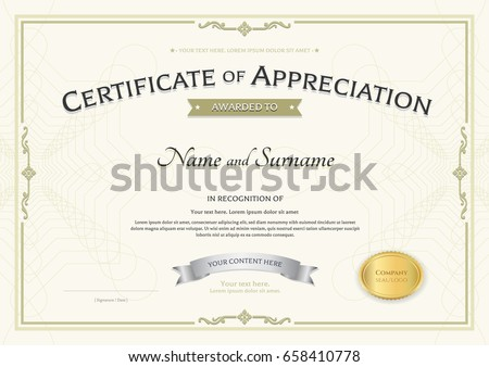 Certificate Appreciation Template Silver Award Ribbon Stock Vector