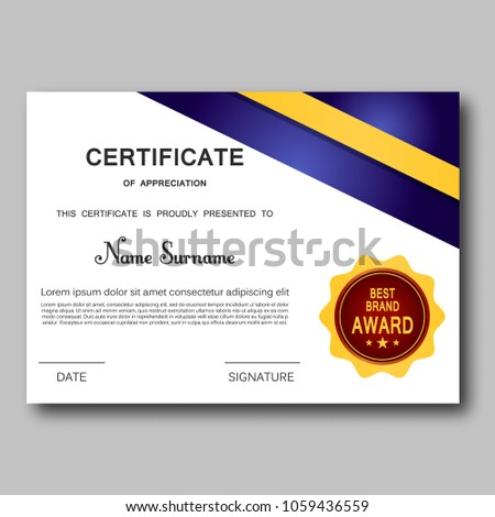 certificate appreciation template vector trendy geometric stock