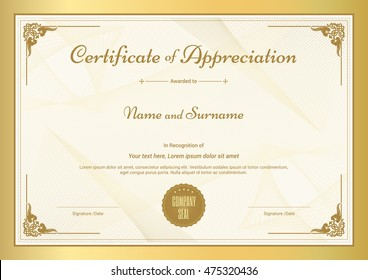 Certificate of appreciation stock images royalty free images certificate of appreciation template with vintage gold border yelopaper Choice Image