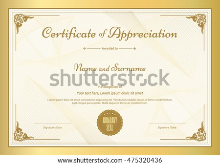 Certificate Appreciation Template Vintage Gold Border Stock Vector ...