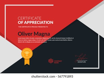 """Certificate of Appreciation"" trendy design. Simple geometric shapes composition. Layered eps10 vector."