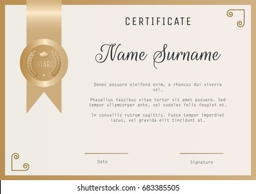 certificate award template vector blank gold stock vector royalty
