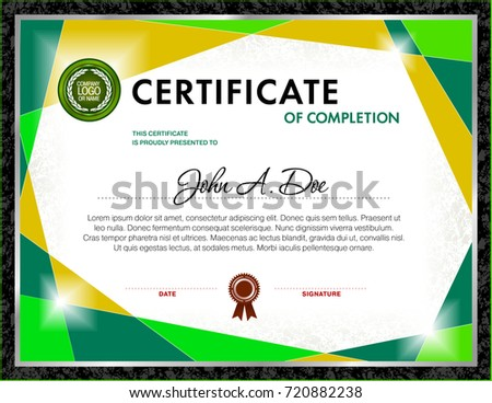 certificate blank template designed green color stock vector