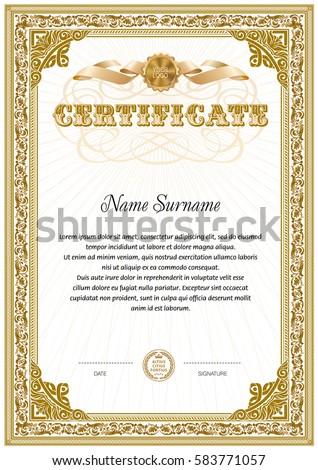 Certificate Blank Template Hard Vintage Frame Stock Vector Royalty