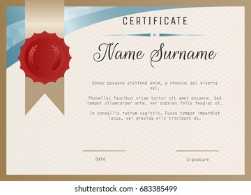 Certificate background images stock photos vectors shutterstock certificate blank template vector with wax seal stamp yadclub Images