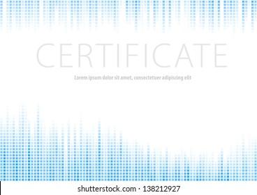 Certificate - blue halftone background. Vector illustration