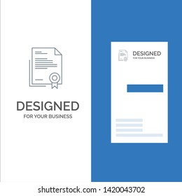 Certificate, Business, Diploma, Legal Document, Letter, Paper Grey Logo Design and Business Card Template